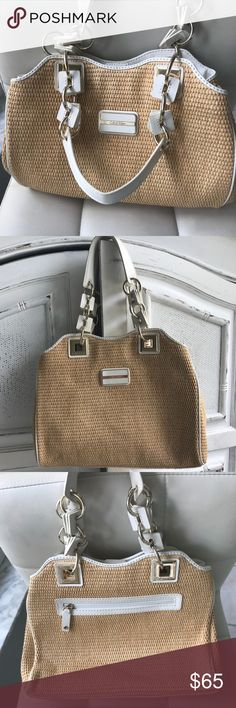 "CALVIN KLEIN STRAW BAG Gorgeous lots of space! Calvin Klein Straw bag w/ gold & ivory detail. 4 interior pockets, 2 zippered. 13""L x 3""W x 10.5""H. Shoulder drop=8.5"" Perfect for the upcoming season. Only used once. EUC Calvin Klein Bags Shoulder Bags"