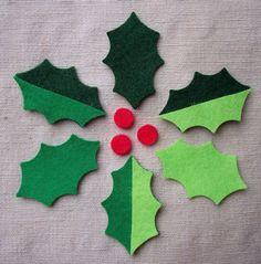 x12 FELT HOLLY LEAVES & x9 BERRIES - die cut Christmas appliqués toppers | eBay
