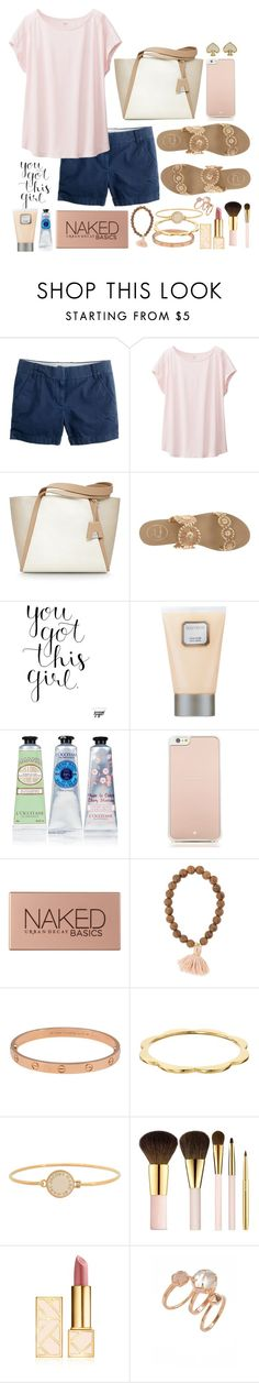 """""""You got this girl"""" by mhallmark ❤ liked on Polyvore featuring J.Crew, Uniqlo, Akris, Jack Rogers, Laura Mercier, L'Occitane, Kate Spade, Urban Decay, Cartier and Marc by Marc Jacobs"""