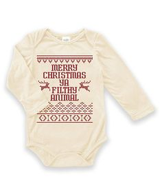 Love this Cream 'Ya Filthy Animal' Long-Sleeve Bodysuit on #zulily! #zulilyfinds
