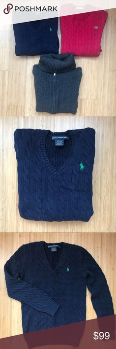 3 SWEATER FOR THE PRICE OF ONE SUPER CUTE 1. RALPH LAUREN SWEATER SIZE S ORIGINAL PRICE $89 2. SAKS FIFTH AVENUE GREY CASHMERE SWEATER SIZE S  ORIGINAL PRICE $189 3. Lacoste sweater size 36 Europian, equals size S us. Paid $150 The price for all 3 sweaters.great deal Sale Ralph Lauren Sweaters