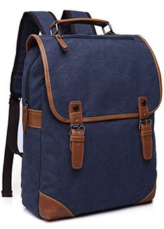 Aidonger Unisex Vintage Canvas Casual Backpack Dark blue -- Check out the image by visiting the link.(This is an Amazon affiliate link and I receive a commission for the sales)
