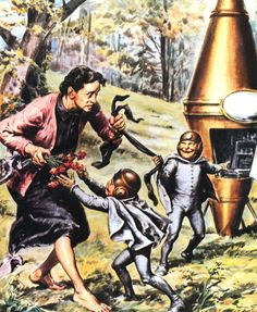 """""""Alien Abduction in Tuscany by Walter Molino, 1954. Rosa Lotti was walking into Cennina, when she saw a big vertical spindle, """"like 2 cones joined @ their bases."""" From behind this craft emerged two little men 3 ft tall, approaching her with friendly expressions, the older one laughing. They were speaking a language similar to Chinese, 'liu, lai, loi."""" Approaching Lotti, they snatched from her the carnations and one of her stockings. Lotti ran away. A deep hole in the ground was later found"""