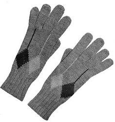 Mens Argyle Gloves #knit patterns originally published in Two Needle Argyles, Doreen #Knitting Vol 96.