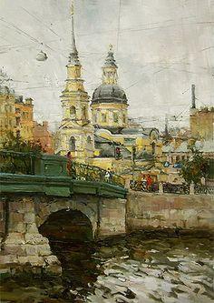 Paintings Azat Galimov. View of the Church of Simeon and Anna. Saint Petersburg