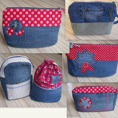 Kuestensocke: Februar 2012 Sewing Hacks, Sewing Projects, Reuse Jeans, Artisanats Denim, Diy Bags Purses, Jean Crafts, Denim Ideas, Pouch Pattern, Recycled Denim