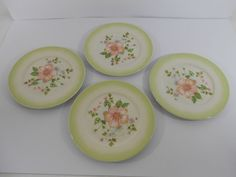 Tracy Porter Cottage Trellis Salad Plates Set of 4 Green Floral Flowers #TracyPorter