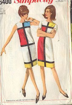 Simplicity 6400 Uncut Mod Mondrian & YSL Inspired DRESS Vintage Sewing Pattern Source by laurelsuzie Look dress Vintage Dress Patterns, Clothing Patterns, Vintage Dresses, Vintage Outfits, Coat Patterns, Vintage Clothing, Moda Vintage, Vintage Mode, Vintage Ysl