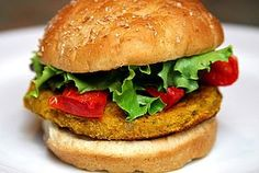 Sweet Potato, Chickpea, and Quinoa Veggie Burger With Roasted...