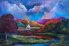 original painting, Serenely Sailing by Randy Burns