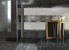 Preziosi fondi lustrati in una gamma di tinte morbide e rassicuranti rifinite con decorazioni di grande classe. Precious shining tiles in a range of soft and reassuring colours with refined decorations.