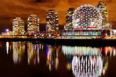 Vancouver Science World night view.