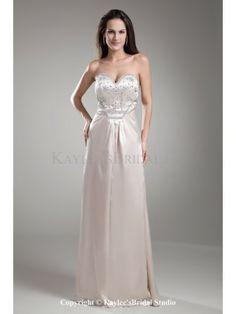 Satin Sweetheart Floor Length Column Crystals Prom Dress