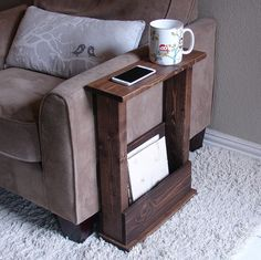Sofa Chair Arm Rest Table Stand with Storage Pocket by KeoDecor