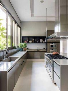 Luxury Kitchen Design, Kitchen Room Design, Home Room Design, Dream Home Design, Home Decor Kitchen, Modern House Design, Interior Design Kitchen, Kitchen Furniture, Home Kitchens