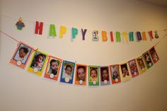 Party banner - did the pictures of each month of his first year. Was a lot of work but turned out cute. Did different color paper than the photo