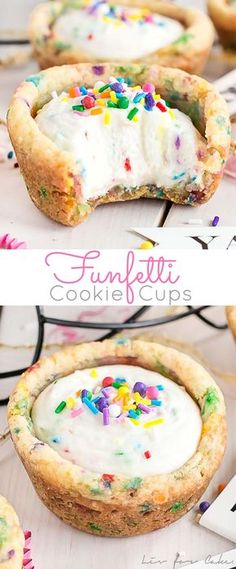 These Funfetti Cookie Cups are perfect for any celebration! Birthday cake flavoured cookie cups filled with a whipped cream cheese filling. Funfetti Cookies, Cookies Et Biscuits, Shortbread Cookies, Mini Desserts, Easy Desserts, Plated Desserts, Whipped Cream Cheese, Cream Cheese Filling, Cookies