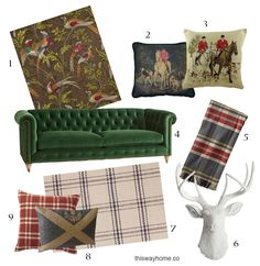 Lately I've been seeing a lot of Scottish influence in interior design. The iconic Scottish style is of course plaid, but Scottish influence comes in many other forms: pheasant motifs, needlepoint hunting scenes, rich velvet sofas, and (faux!) mounted taxidermy. Here's how to add a wee bit of Scotland to your home!