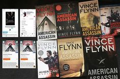 Well there you go. So far.  My American Assassin Vince Flynn collection is progressing nicely. From left to right top row: screenshots (from the iPhone) of the digital (iTunes) film version the Motion Picture Soundtrack (by Steven Price) the 2011 US paperback the UK film tie-in paperback the US 2015 paperback the European BluRay.  Bottom row: audiobook read by Armand Schultz audiobook read by George Guidall US film tie-in paperback UK paperback US hardback.  I have one more version of the…