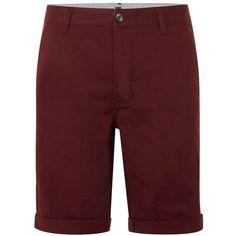 TOPMAN Burgundy Long Length Skinny Chino Shorts (94 BRL) ❤ liked on Polyvore featuring men's fashion, men's clothing, men's shorts, burgundy, mens chino shorts and mens long shorts