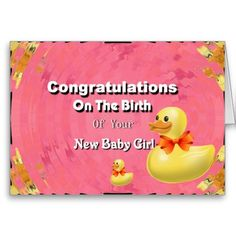 Shop Congratulations On The Birth Of Your New Baby Girl Card created by JustParties. New Baby Girls, New Girl, New Baby Quotes, Baby Congratulations Card, Baby Girl Cards, Sending Hugs, Wishes For Baby, Custom Greeting Cards, Thoughtful Gifts