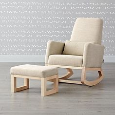 Shop Joya Beige Rocking Chair and Ottoman. A stylish rocking chair designed by Monte™ for you and your little bundle of joy. Comfy, with a smaller footprint, our Joya Rocking Chair gently rocks back and forth on solid maple legs. White Rocking Chairs, Upholstered Rocking Chairs, Rocking Chair Nursery, Chair And Ottoman, Round Ottoman, Bedroom Chair, Kids Room Furniture, Brown Furniture, Furniture Sale