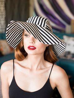 Sun Hat  Black & White Striped hat Wide Brim Hat by Bellastarrhats