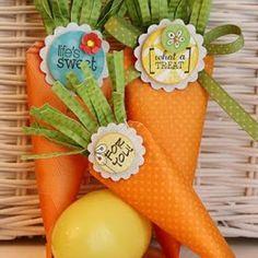 Cenouras porta guloseimas de páscoa - Pra Gente Miúda
