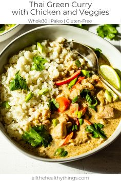 20 Minute Thai Green Curry with Chicken and Vegetables is the perfect flavorful way to cure weeknight dinner boredom fast! Vegetable Green Curry, Thai Green Curry Recipes, Green Curry Chicken, Healthy Chicken Curry, Thai Kitchen Green Curry Paste Recipe, Healthy Thai Green Curry, Shrimp Green Curry, Chicken Vegetable Curry, Chicken And Vegetables