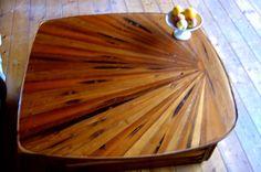 red cedar scrap wood moving coffee table