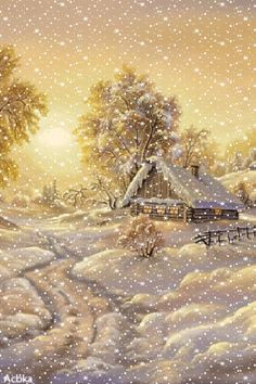 Cute Christmas Gifts, Christmas Images, Vintage Christmas, Winter Schnee, Christmas Phone Wallpaper, I Love Snow, Love You Images, Gif Photo, Winter Painting