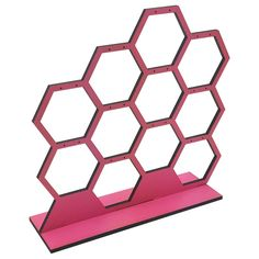Expression+Pink+Honeycomb+Earring+Display Wood Jewelry Display, Earring Display, Jewellery Display, Foil Paper, White Ribbon, Honeycomb, Cube, Silver, Pink