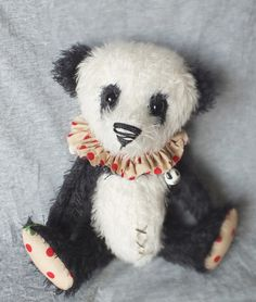 CIRCUS Panda PICKLE - Mohair Artist Bear - Vintage Style - Baby Teddy By A CURIOUS WHIM.
