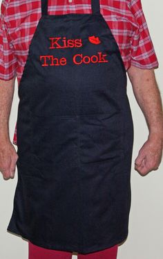 Kiss the Cook apron available in black, royal blue, maroon or hunter green. FREE shipping & FREE personalization for $20.00 from www.AGiftToTreasure.com