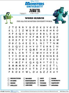 Monsters University Word Search