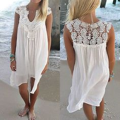 New Sexy Women Summer Beach Sexy Casual Lace Sleeveless Party Short Mini Dress Sundress