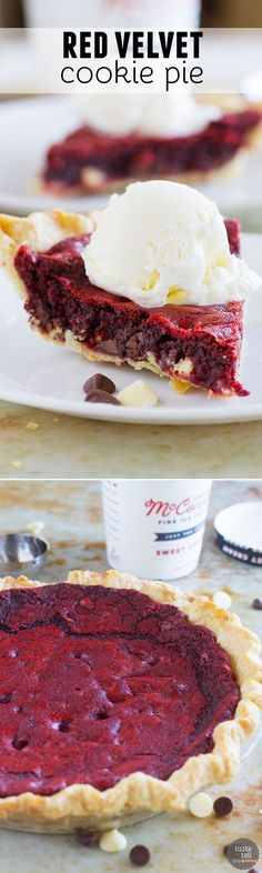 Can't decide between a pie or a cookie? Get the best of both worlds with this Red Velvet Cookie Pie. This is the perfect holiday pie!: