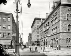 (c. 1910) Post Office, Fayette Street from Warren - Syracuse, New York
