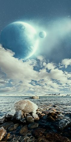 Another Earth and another Moon   Unrealistic Scenes by Nathan Spotts, via Behance