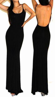 Black Minimalist Backless Open Back Slip Jersey Long Maxi Cocktail Dress s M L | eBay