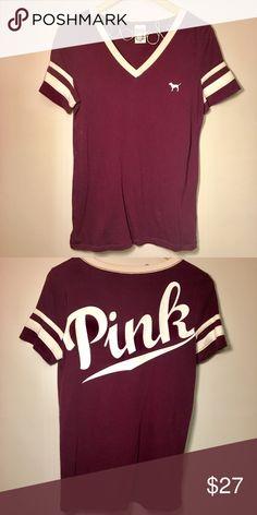 PINK v-neck maroon T-shirt PINK v-neck maroon T-shirt. Never worn! PINK Victoria's Secret Tops Tees - Short Sleeve