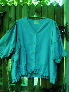 Plus Size/Linen and Rayon/Raw Frayed Fringey by SheerFab on Etsy $60 - I really like the look of this... A little shorter, a little ruffled and that cool pocket.