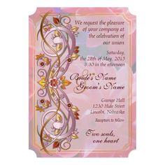 Fall Scroll & Pink Chrysanthemum Wedding Invite 2B