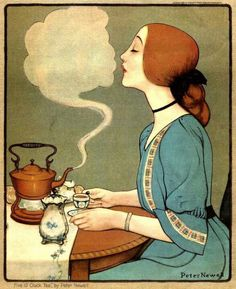 Peter Newell (1861-1924), American illustrator / 'Five O'Clock Tea' , 1905 .... appeared on the cover of the Sunday Magazine, November 5, 1905 ... cloud of steam from tea kettle forms a silhouette poised to kiss the woman at the tea table