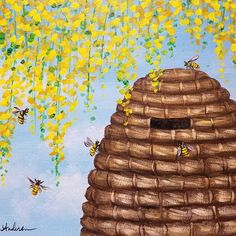 Simple Beehive Floral Acrylic Painting Tutorial by Angela Anderson on YouTube #fredrixcanvas #princetonbrushes #art #painting #bee #beehive