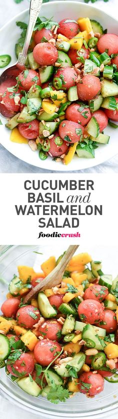 awesome Cucumber, mango and watermelon are dressed with a zingy Asian dressing of soy sa...