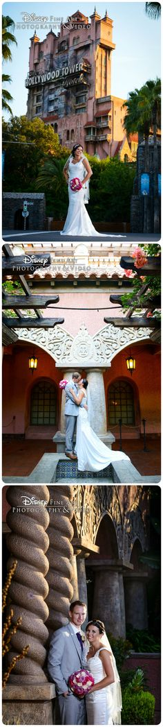 Who knew The Twilight Zone Tower of Terror could be such a romantic spot for a bride and groom?