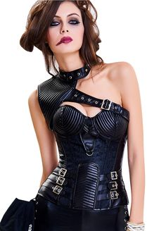 f362997606 13 Bones Jacquard Leather Steampunk Halter Corset Gothic Steampunk  Corset Corset and Bustiers Sexy Lingeire