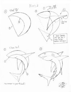 how to draw a shark - Drawing Tips Drawing Tips Drawing Lessons, Drawing Techniques, Drawing Tips, Drawing Reference, Drawing Sketches, Art Lessons, Painting & Drawing, Sketching, Fish Drawings