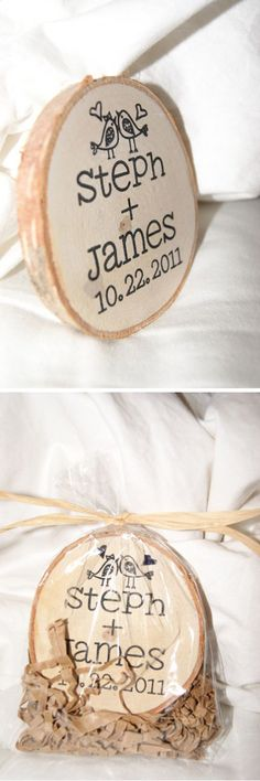 Creative DIY Wedding Favor for Guests | Wooden Magnet Favors by DIY Ready at http://diyready.com/24-diy-wedding-favor-ideas/